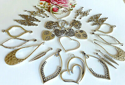 20 x Fab  Silver Floral acrylic Heart Charms 26mm