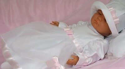 Baby Girls Dress White Pink Christening Flower Girl with Hat Long Sleeve