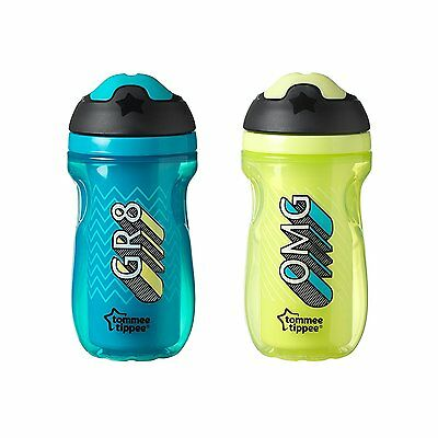 Tommee Tippee Insulated 2 Piece Sipper Tumbler, Blue and Green, 9 Ounce, 2 Count