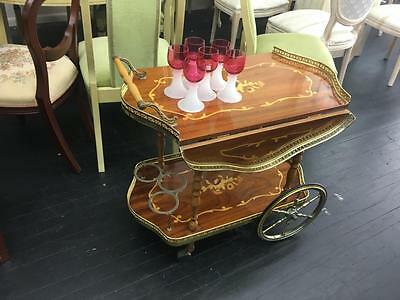 Antique Style 'sorrento' Inlaid Tea Trolley With Drop Sides On Wheels