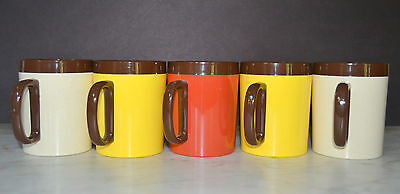 5 Vintage Thermo-Serv Insulated Coffee Cups/Mugs Yellow Brown Red #9132