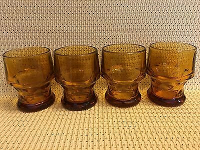 Vintage Libbey Georgian style  Amber glasses honeycomb pattern