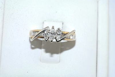 Marquis & Baguette Diamond 14k Yellow & White Gold Engagement Ring .75 tcw