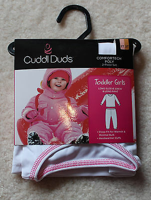 Cuddl Duds Toddler Girls Comfortech Poly Set 2T/3T NWT White