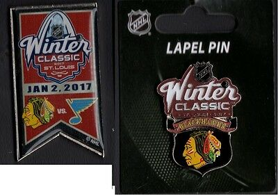2017 Winter Classic Dueling Team Pin + Chicago Blackhawks Puck Style Lapel Pin