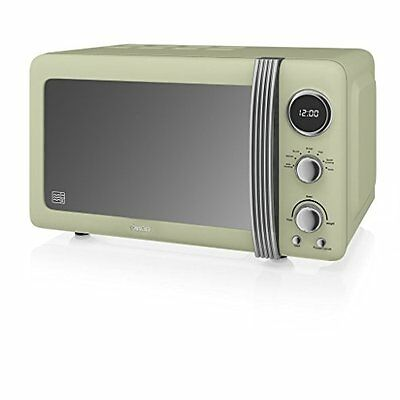 New Swan Digital Microwave, 20 Litre, 800 Watt, 5 Power Levels with Timer, Green