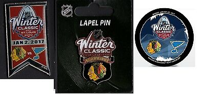 2017 Nhl Winter Classic Team Puck + Blackhawks Blues Pin + Chicago Lapel Pin