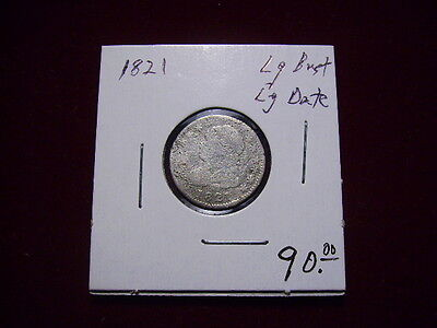 1821 10C Large Date Capped Bust Dime
