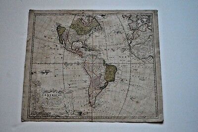 Antique, original, hand-colored 1746 map of America by Homann Heirs