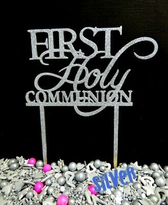 1St Holy Communion Cake Topper Sign Decoration 3 Ply Wood Gold Silver White Raw