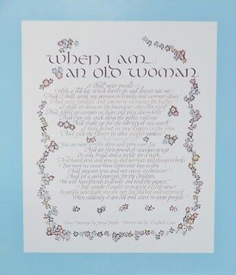 """When I Am An Old Woman"" Poem Poster - Can be Framed - Suit Red Hat Society"