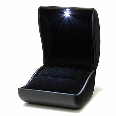 07S8 Jewel Ring Box Jewelry Gift Wedding Engagement Black With LED Light