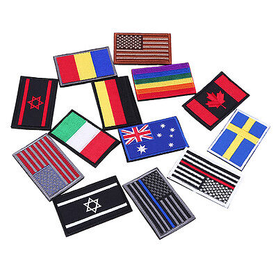 Multi-Nation Flag Emblem Patch Embroidered Applique National Country Sew Trim