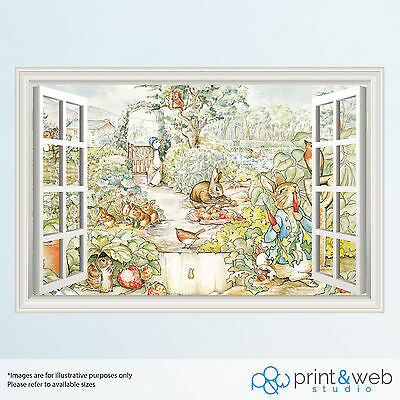 Beatrix Potter Rabbit 3D Window View Decal Wall Sticker Home Decor Art Mural