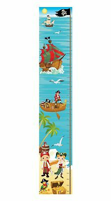 Pirate Sea Treasure Ship Bedroom Decor Boy Girl Kids Canvas Height Chart Hc004