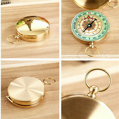 Brass Pocket Watch Style Outdoor Camping Hiking Compass Navigation Keychain  1