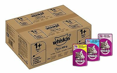 Whiskas Wet Cat Food 84 x 100 g Pouch for 1+ Adult Mixed Selection in Jelly