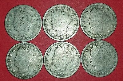 Lot of 6 Liberty Nickels   ID #6C