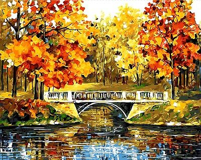 Framed Painting by Number kit Late Autumn Golden Woods The Corner of Park BB7645