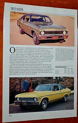 1972 Chevy Nova Fact Sheet / Photos + Monte Carlo On Back - Retro 70S