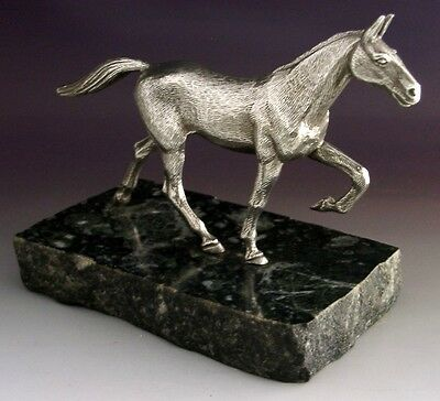SUPERB LARGE SILVER PLATED HORSE FIGURE c1950 HUNTING RIDING ANTIQUE