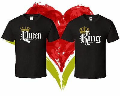 King Queen Matching Couple Love Set His Hers T-Shirts Tee T Shirt Tshirt