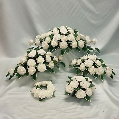 Wedding Flowers Top Table Arrangement Candle Ring Package White Foam Roses