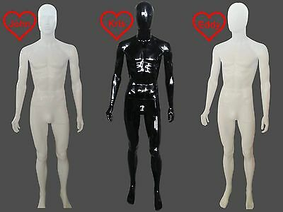 ❤ A1 Male Mannequin Full Body High Gloss Plastic Egghead Faceless Retail Display