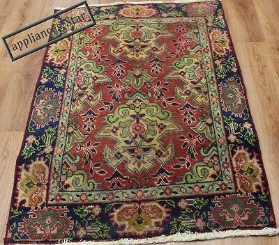 Old Wool Hand Made Persian Oriental Floral Runner Area Rug Carpet 132 X 87Cm