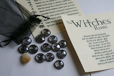 Witches runes hand painted pagan wicca new age.
