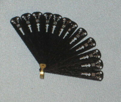 Black fan for antique German, French Fashion, Bleuette or China doll
