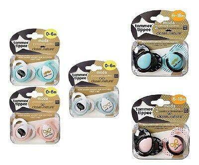 Tommee Tippee Soothers Dummy Pacifiers Moda Closer to Nature 0-18m x2