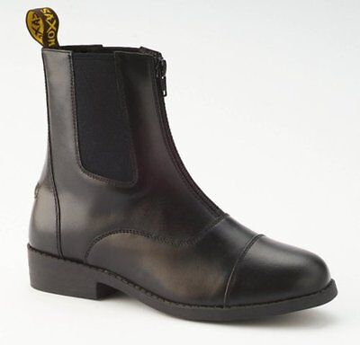 Saxon Equileather Zip Front Boots Black Childs 10