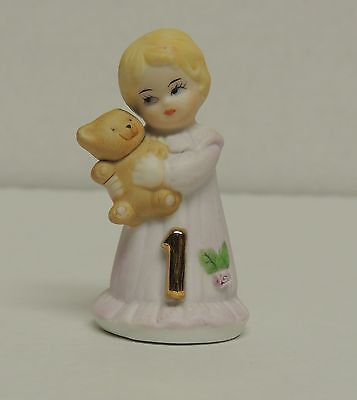 Enesco Growing Up Blonde Birthday Girl Figurine Age 1 Pink Dress Collectible