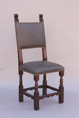 19th Century Spanish Revival Antique Wood Side Chair Riveted Leather (9840)