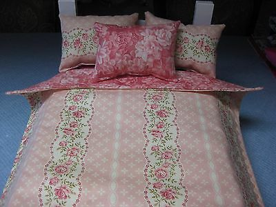 4 Piece American Girl Inspired Rose Floral Reversible Bedding 18 Inch doll