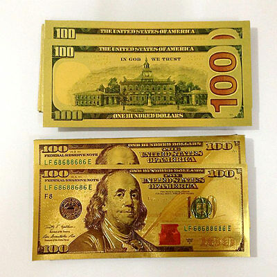 10pcs USA 24K Gold Foil Dollar $100 Collections Banknotes Home Decor Arts Gifts