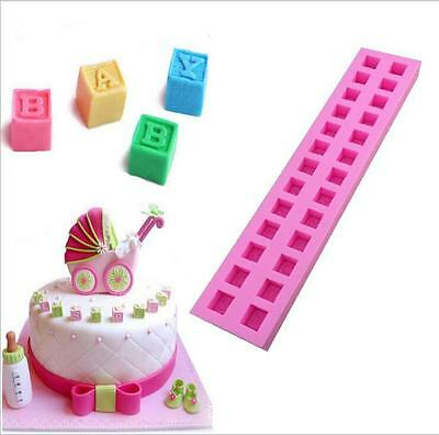 3D DIY English Letters Baby Building Block Fondant Cake Molds Chocolate Mold
