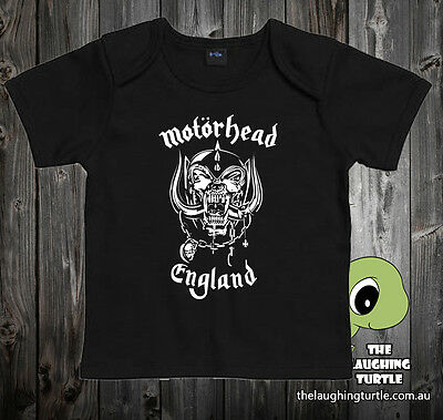Motorhead Black Cotton Baby Envelope Neck T-Shirt. Sizes 0-24 months