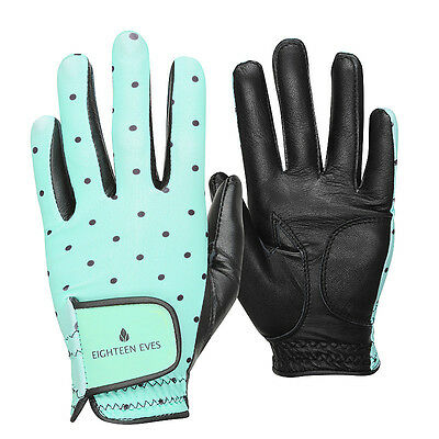 Ladies Golf Glove - Cabretta Leather Polka Dot Mint Black Available in Left o...