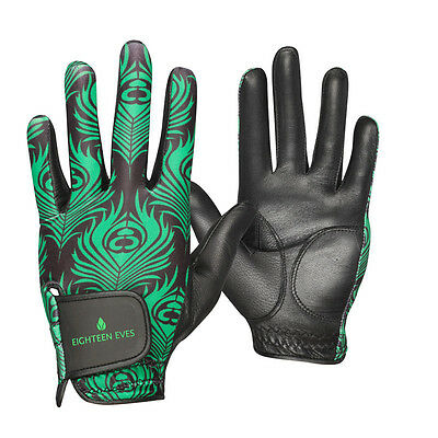 Ladies Golf Glove - Cabretta Leather Peacock Green Black Available in Left or...