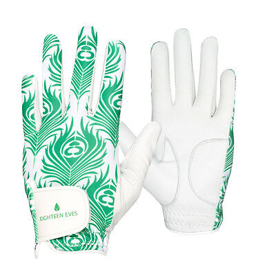 Ladies Golf Glove - Cabretta Leather Peacock Green White Available in Left or...