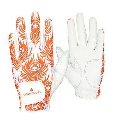 Ladies Golf Glove - Cabretta Leather Peacock Orange White Available in Left o...
