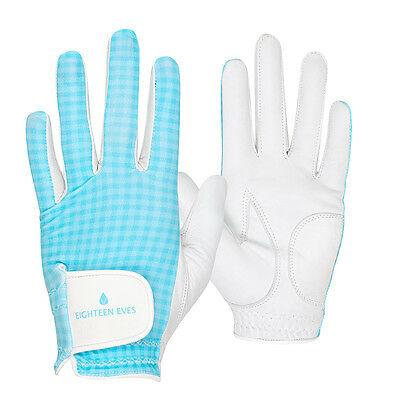 Ladies Golf Glove - Cabretta Leather Gingham Blue White Available in Left or ...