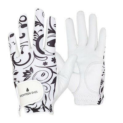 Ladies Golf Glove - Cabretta Leather Lotus Black White Available in Left or R...