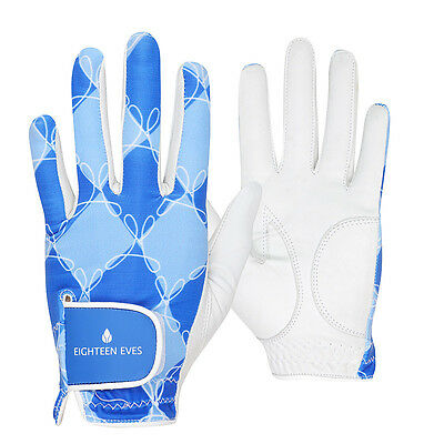Ladies Golf Glove - Cabretta Leather Argyle Blue White Available in Left or R...