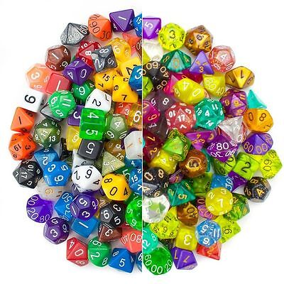 New 42 Dice in 6 Complete 7pc Polyhedral Dice Sets with Large Bag RPG D&D