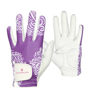 Ladies Golf Glove - Cabretta Leather Paisley Purple White Available in Left o...