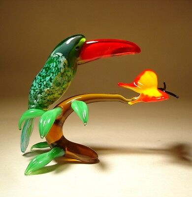 "Blown Glass ""Murano"" Art Figurine Colorful Bird TOUCAN on a Branch with Flower"
