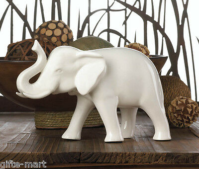 White Ceramic standing sculpture lucky RAISED TRUNK elephant figurine statue